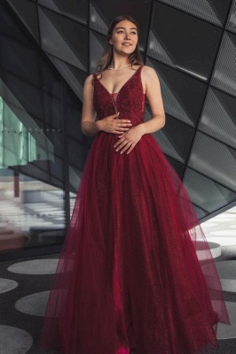 Sleeveless Tulle Ruby Lace Appliques A-Line Prom Dresses_1