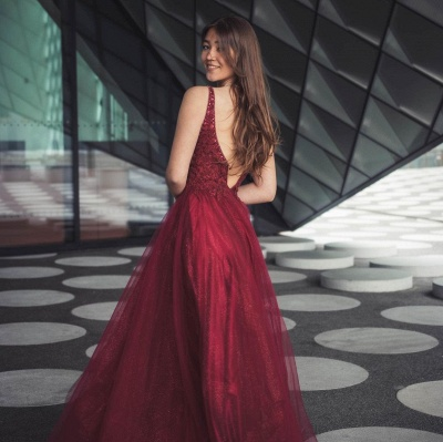 Sleeveless Tulle Ruby Lace Appliques A-Line Prom Dresses_2