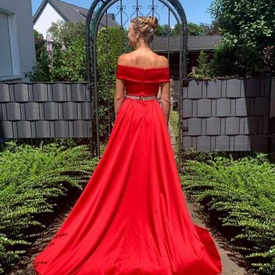 Elegant Off The Shoulder Satin Ruby Ruffles A-Line Prom Dresses_2