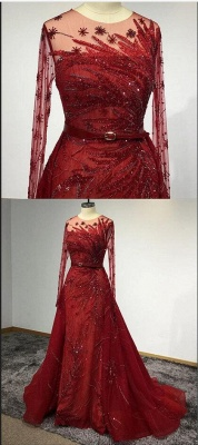 Luxury Long Sleeves Tulle Ruby Lace Appliques Mermaid Prom Dresses_5