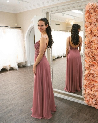 Graceful Spaghetti Straps Dusty Rose Ruffles Prom Dresses With Appliques_4
