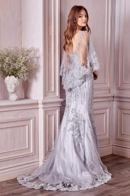 Luxury Tulle Sleeveless Lace Crystal Silver Mermaid Prom Dresses_2