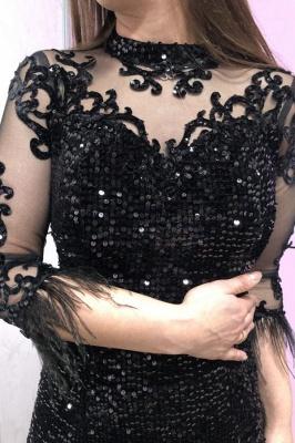 Black Half Sleeves Lace Sequins Beading Mermaid Prom Dresses_3