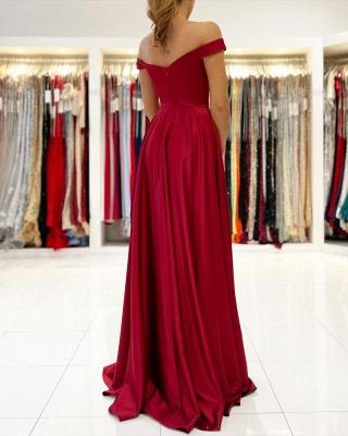 Off The Shoulder Ruby Front-Split Ruffles Evening Dresses_2