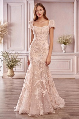 Glamourous Short Sleeves Tulle Nude Pink Appliques Mermaid Prom Dresses_1