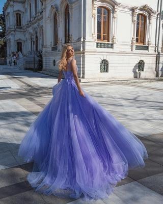 Princess Tulle Sleeveless Purple Beading Ruffles Prom Dresses Long_2