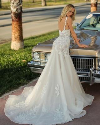 Spaghetti Straps Lace Appliques Organza Mermaid Wedding Dresses_3