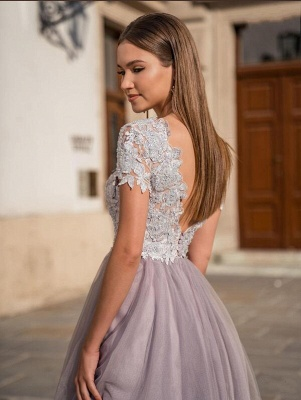 Beautiful Tulle Short Sleeves Light Purple Tea-Length Prom Dresses With Lace Appliques_2