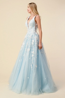 Tulle V Neck Long A-Line Prom Dresses With Lace Appliques_4