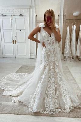 Bow Sleeveless Tulle lace Appliques V Neck Mermaid Wedding Dresses Long_1