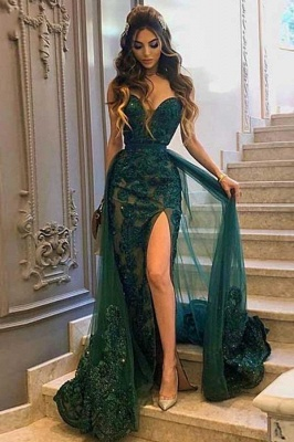 Luxury Sweetheart Tulle Jade Green Side-Split Appliques Mermaid Prom Dresses_1