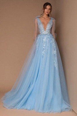 Princess Long Sleeves Tulle Sky Blue Lace Appliques Prom Dresses_1