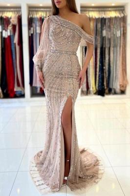 One Shoulder Tulle Crystal Split Mermaid Prom Dresses Long_1