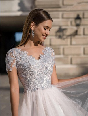 Beautiful Tulle Short Sleeves Light Purple Tea-Length Prom Dresses With Lace Appliques_3