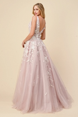Tulle V Neck Long A-Line Prom Dresses With Lace Appliques_2