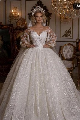Luxury Sweetheart Tulle Sequins Ruffles Ball Gown Wedding Dresses With Long Sleeves