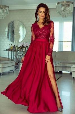 Long Sleeves Ruby V Neck Lace Appliques Split Prom Dresses_1