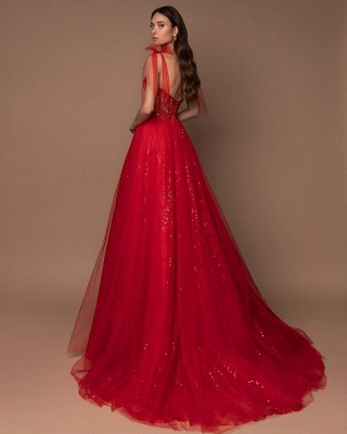 Sleeveless Tulle Ruby Lace Sequins A-Line Zipper Prom Dresses_2