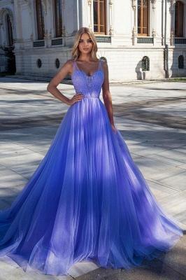 Princess Tulle Sleeveless Purple Beading Ruffles Prom Dresses Long_1