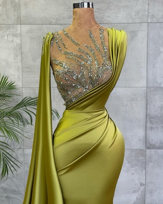 Vintage Sleeveless Sage Ruffles Long Mermaid Prom Dresses With Crystal_2