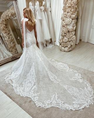 Bow Sleeveless Tulle lace Appliques V Neck Mermaid Wedding Dresses Long_2