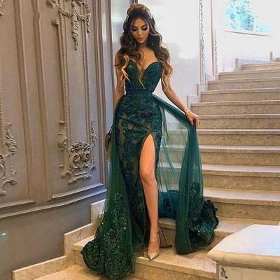 Luxury Sweetheart Tulle Jade Green Side-Split Appliques Mermaid Prom Dresses_2