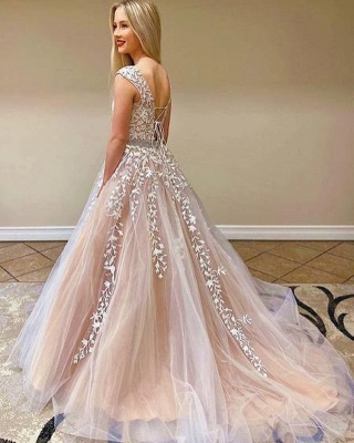 Elegant Tulle Sleeveless Lace Appliques A-Line Prom Dresses_2