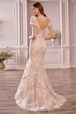 Glamourous Short Sleeves Tulle Nude Pink Appliques Mermaid Prom Dresses_2