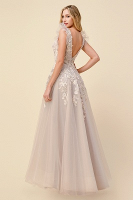 Tulle Backless V Neck Lace Appliques Prom Dresses Long_2