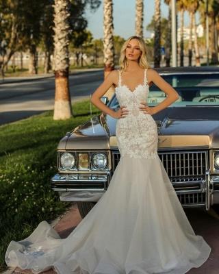 Spaghetti Straps Lace Appliques Organza Mermaid Wedding Dresses_2