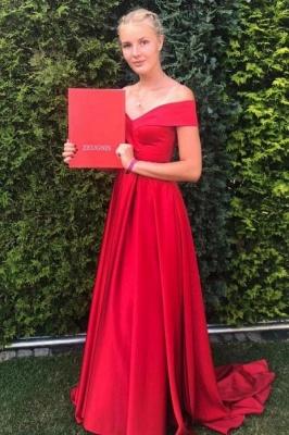 Elegant Off The Shoulder Satin Ruby Ruffles A-Line Prom Dresses_1
