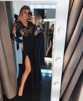 Chic Long Sleeves Black V Neck Lace Side-Split Prom Dresses_2