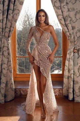 Sparkle One Shoulder Tulle Hi-Lo Sequins Mermaid Prom Dresses_1