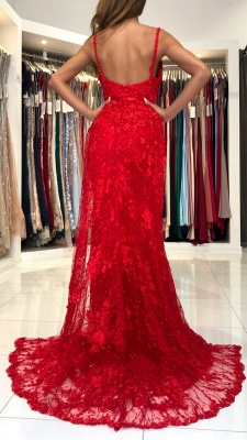 Sleeveless Ruby Lace Appliques Mermaid Prom Dresses_3