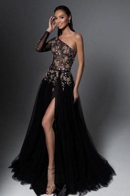 Vintage One Shoulder Appliques Black Tulle Prom Dresses_1
