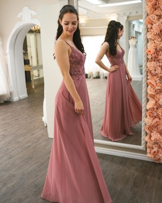 Graceful Spaghetti Straps Dusty Rose Ruffles Prom Dresses With Appliques_2
