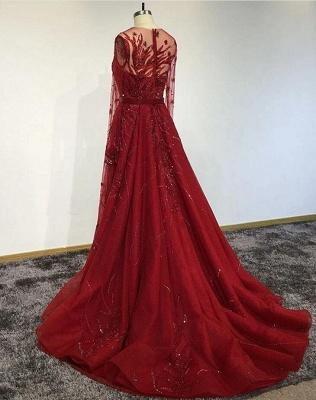 Luxury Long Sleeves Tulle Ruby Lace Appliques Mermaid Prom Dresses_2