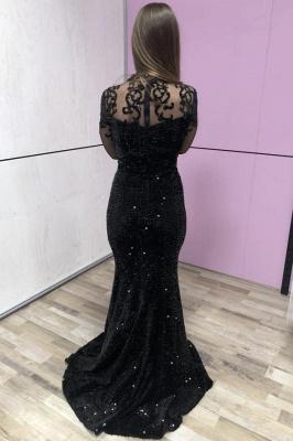 Black Half Sleeves Lace Sequins Beading Mermaid Prom Dresses_2