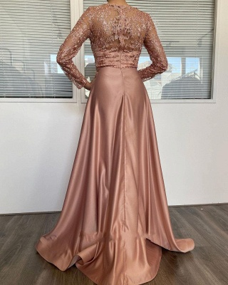 Vintage Long Sleeves Nude Pink Appliques Mermaid Prom Dresses With Detachable Skirt_2