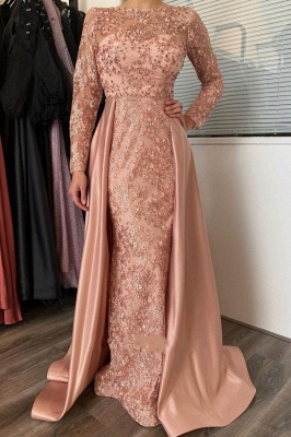 Vintage Long Sleeves Nude Pink Appliques Mermaid Prom Dresses With Detachable Skirt_1