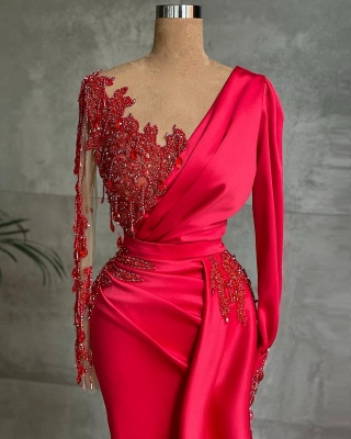 Long Sleeves Satin Red Lace Appliques Ruffles Mermaid Prom Dresses_2