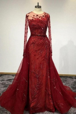 Luxury Long Sleeves Tulle Ruby Lace Appliques Mermaid Prom Dresses_1