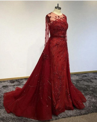Luxury Long Sleeves Tulle Ruby Lace Appliques Mermaid Prom Dresses_3