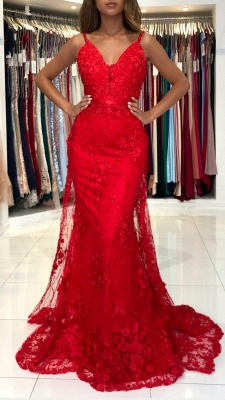 Sleeveless Ruby Lace Appliques Mermaid Prom Dresses_2