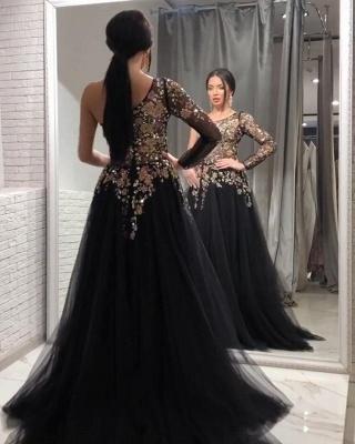 Vintage One Shoulder Appliques Black Tulle Prom Dresses_3
