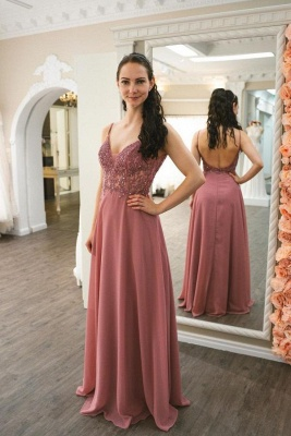 Graceful Spaghetti Straps Dusty Rose Ruffles Prom Dresses With Appliques_1