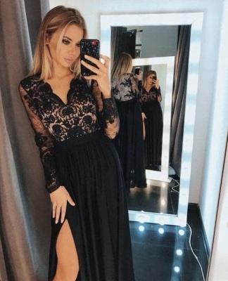 Chic Long Sleeves Black V Neck Lace Side-Split Prom Dresses_3