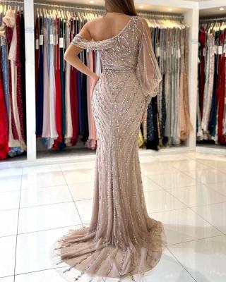 One Shoulder Tulle Crystal Split Mermaid Prom Dresses Long_3