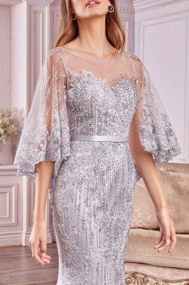 Luxury Tulle Sleeveless Lace Crystal Silver Mermaid Prom Dresses_3