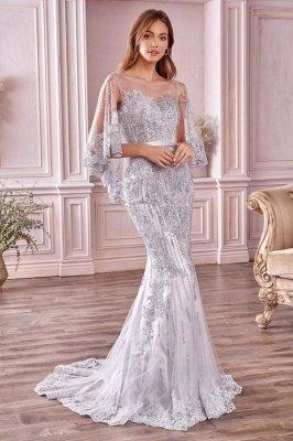 Luxury Tulle Sleeveless Lace Crystal Silver Mermaid Prom Dresses_1
